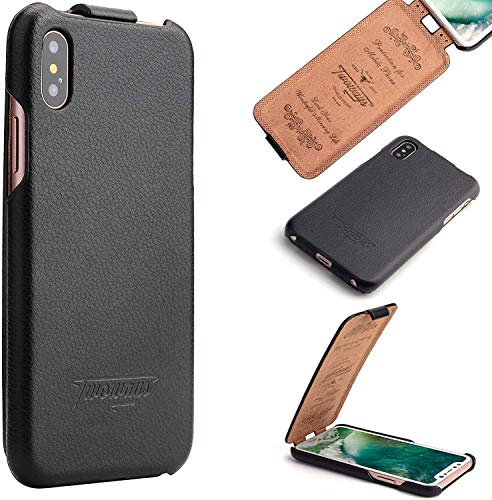 Twoways Handyhüllen iPhone Flipcase Leder in Schwarz (iPhone XS/X)