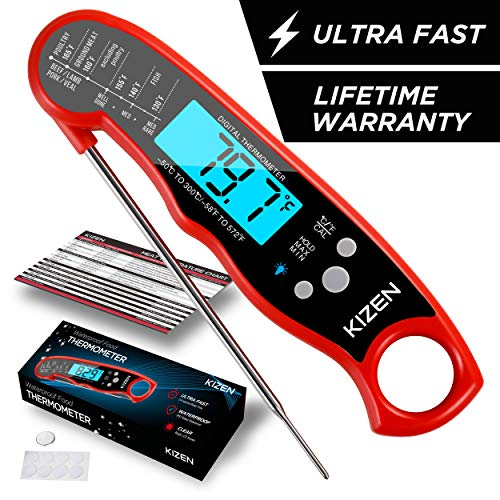 Review Of Kizen Instant Read Meat Thermometer - Best Waterproof Ultra Fast Thermometer with Backligh...
