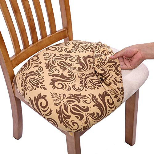 Comqualife Stretch Printed Dining Chair Seat Covers, Removable Washable Anti-Dust Upholstered Chair Seat Cover for Dining Room, Kitchen, Office (Set of 6, Gold)