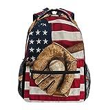 Best Baseball Backpacks - TropicalLife American Flag USA Baseball Backpacks Bookbag Shoulder Review