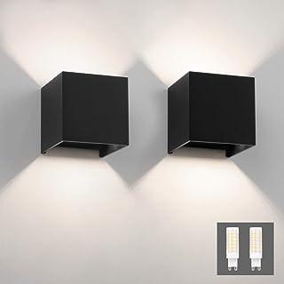 Klighten 2PCS Applique Murale Interieur/Exterieur 9W LED Appliques Murales LED Blanc Naturel 4000K Lampe Murale pour le sa...
