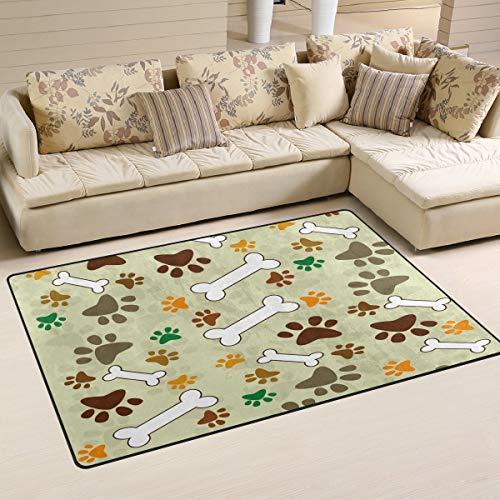 Hipster - Alfombra antideslizante con estampado de huellas de perro, para sala de estar, dormitorio, 152 x 99 cm