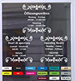 Don Cappello Öffnungszeiten Deluxe Schaufensterbeschriftung Aufkleber Werbung Laden Geschäft Weiß Breite 30 cm