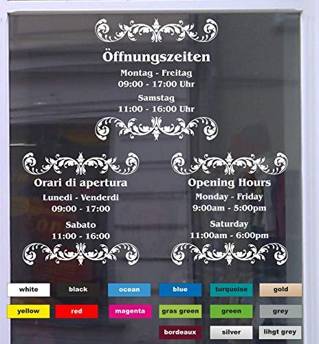 Don Cappello Öffnungszeiten Deluxe Schaufensterbeschriftung Aufkleber Werbung Laden Geschäft Weiß Breite 58 cm
