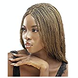 JBG SERVICES Authentic African Braided Wigs - Lightweight Micro Twist Wig for African American Women - Lace Closure for Natural-Look Hairline - 2 Hair Pins Included - 18 Inch Color 27 Copper Blonde
