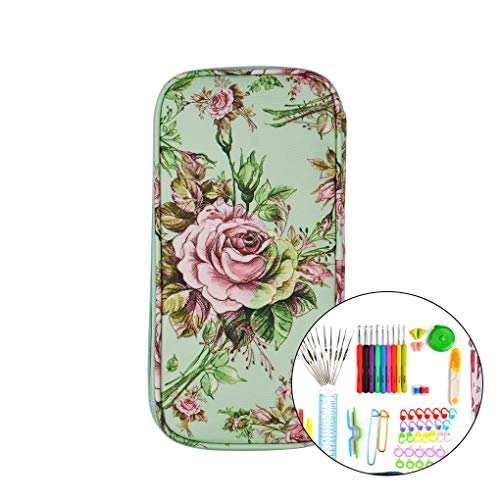 Li qig Knitting Needle Case Green Peony Pattern Weaving Tools Organizer Crochet Hooks Knit Sewing Tools Bag