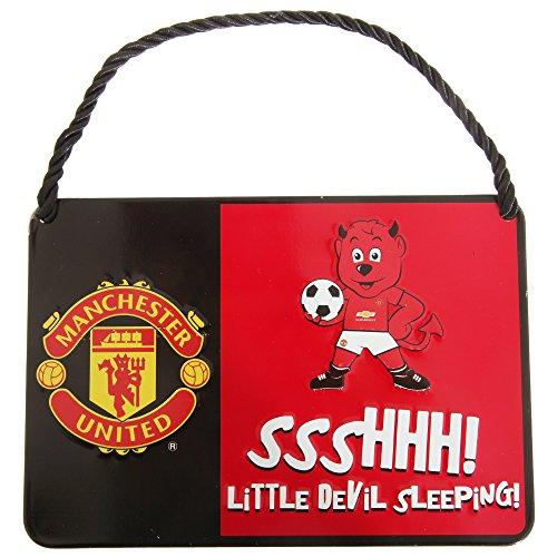Manchester United FC offizielles Kinder Metall Fußball Maskottchen Schild (Einheitsgröße) (Rot)