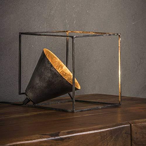 famlights Tischleuchte Merlin aus Metall in Silber, 1x E27, Industrial Design | Würfel Tischlampe für Wohnzimmer, Schlafzimmer | Designerleuchte Nachttischlampe | Stehleuchte Vintage Nachttischleuchte