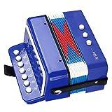 ������ ������ ���������】Acordeón para niños, instrumento de acordeón para niños azul confiable, seguro para niños entusiastas de la música de entretenimiento para niños