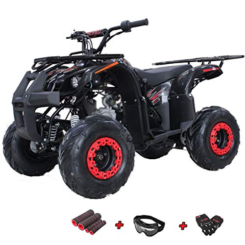 X-PRO Eagle 125 ATV Quad Youth 4 Wheeler ATVs Kid Size ATV 4 Wheelers 125cc Big Boys ATVs Quads with Gloves, Goggle and Handgrip (Black)