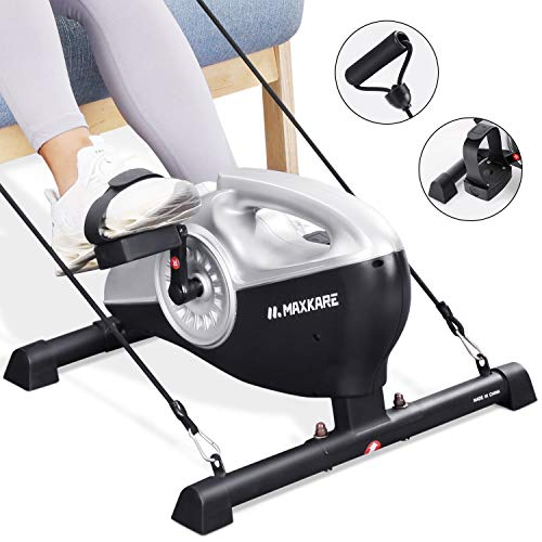 MaxKare Under Desk Bike Magnetic Mini Exercise Bike Stationary Cycle Pedal Ecerciser with LCD Monitor for Leg and Arm Recovery for Men and Woman at Home and Office(Resistance Bands Included)