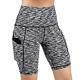 YEARNLY Damen Mit Mit Kompressionswirkung und Quick-Dry-Funktion Laufhose, 3/4 Lang Laufende Yoga-Shorts mit einfarbiger Taschensteppnaht