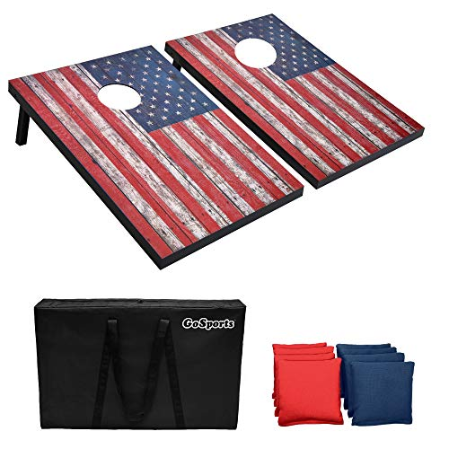 GoSports Classic Cornhole Set - Includes 8 Bean Bags, Travel Case and Game Rules (Choose between Classic, American Flag, and Football Designs) (CH-01-MDF-AMERICA)