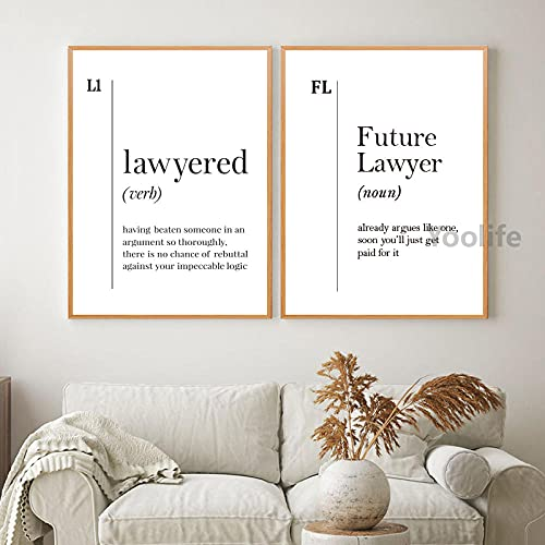zuomo Future Lawyer Definition Print Law Student Paralegal Gift Lawyer Office Decor Black White Poster Wall Art Canvas Painting Decor 50x70cm No Frame