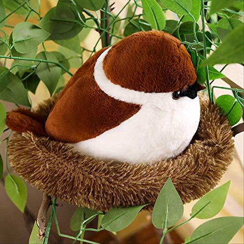 Pluche,Mussen Familie Knuffel Vliegende Bruine Vogel Levensechte Boomdieren Gevulde Pop Met Nest Kids Troostende Gift 30CM 1
