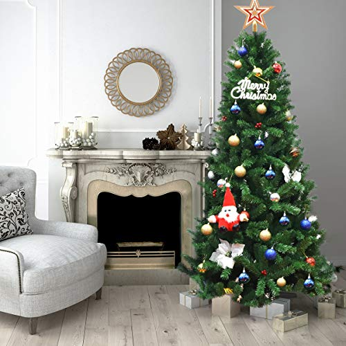 Tangkula Artificial Christmas Tree PVC Material 213cm Hinge Decoration for Christmas Home Party 1116 Branches