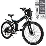 E-Bike Faltbares Elektrofahrrad Mountainbike 26 Zoll Elektrofahrrad 350W Elektrisches Fahrrad mit Shimano 21-Gang-gänge Abnehmbare 36V/8Ah Batterie (Schwarz)