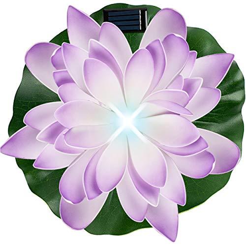 alles-meine.de GmbH Solar - LED Licht - schwimmende Seerose - lila - violett & weiß - Ø 29 cm - Leuchte - Blume Blüte - Solarblume - Garten Wetterfest für Innen Außen - Wasser - ..