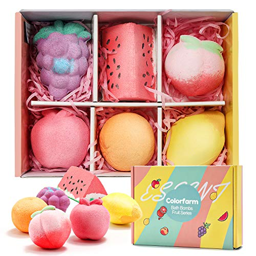 Colorfarm Bath Bombs Gift Set - 6 Natural Bubble Bathboms with Essential Oil, Dry Skin Moisturize,...
