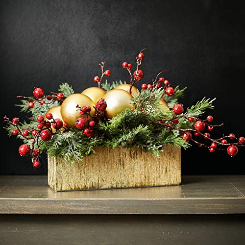 Darby Creek Trading Red & Gold Crackle Berry, Matte Ornament Ball and Juniper Christmas Centerpiece Arrangement in Etched Gold Planter Box