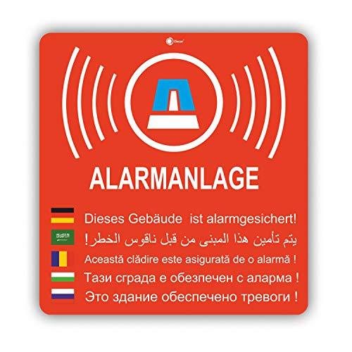 2er Aufkleber-Set Alarmanlage I hin_155 8x8,4 cm I Achtung Gebäude, Objekt ist Alarm-gesichert I für Fenster-Scheibe, Tür I außenklebend wetterfest