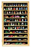 Display Case Wall Curio Cabinet for Building Toys Minifigures Miniature Figures (Oak Finish)
