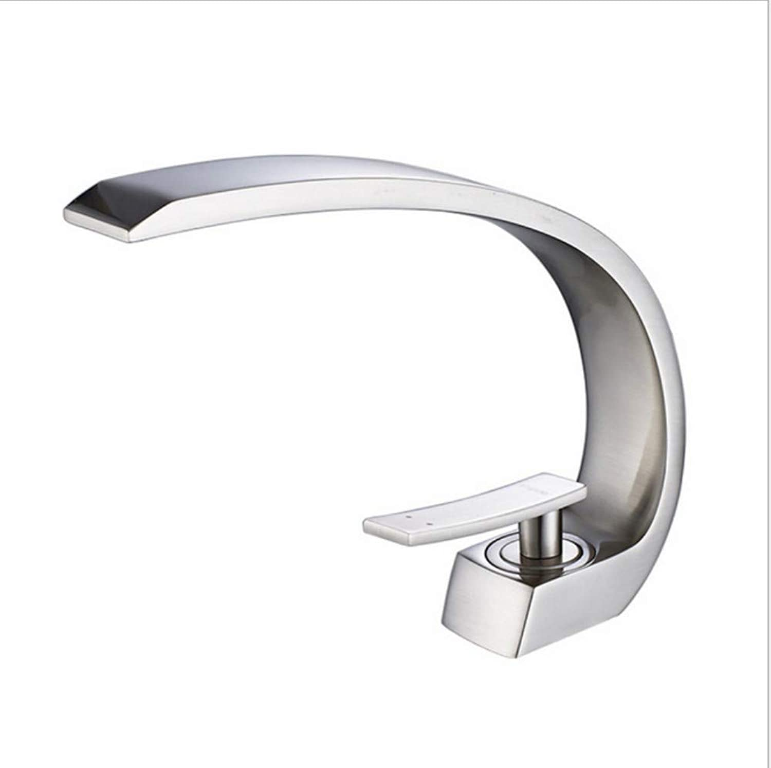 Xiujie Faucet Copper New Large Curved Nickel Brushed Bathroom Basin Faucet Hot and Cold Mixed Water Basin Basin Faucet