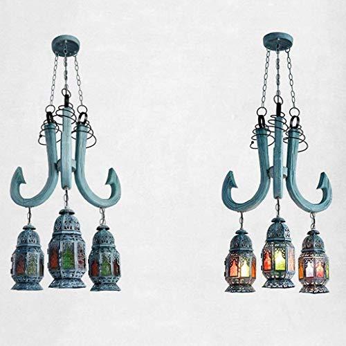 mjk Vintage Lichter Weihnachtslichter Deckenleuchte Lampe Licht, Deckenleuchten, Kronleuchter, Kronleuchter, Kerzenhalter in Holz Restaurants Cafe Hotel, Glas Kronleuchter Mode Eisen