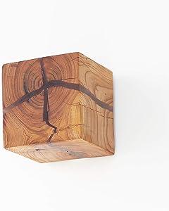 XAJGW Lámpara de pared de madera natural agrietada Diseño original Madera Aplique de pared Aplique Creativo Cuadrado simple Decoración Luz de la noche Luz de la pared para el pasillo de la cama Dormit