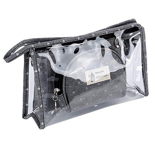 iSpchen 3 en 1 Trousse de Toilette - Portable Voyage Cosmétique Sacs Cosmétiques Transparent PVC Sac En Plastique Étanche Zipper Voyage Cosmétique Sac Organisateur Kit Sac à Main(Gris)