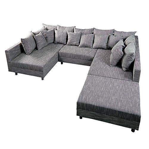 Invicta Interior Design Sofa LOFT XXL mit Hocker Strukturstoff anthrazit