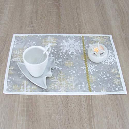 HomeAtelier Tischsets, das Beste Geschenk für die schönste Küche, Goldene Schneeflocke, Weihnachten, Rechteckige Platzsets 40x28cm, Schönen Platzdeckchen, Weihnachtsdeko, Set mit 2, 4 oder 6 Stück