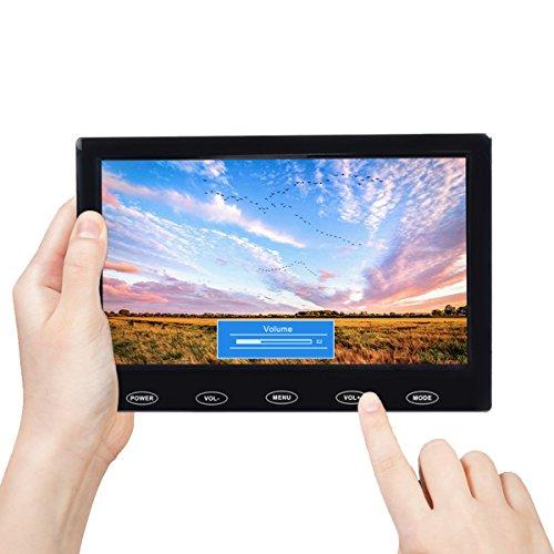 TOGUARD Schermo 7 Pollici TFT LCD Schermo Ultra-Sottile Monitor Portatile Full HD 1024x600, Entrata AV VGA HDMI, con Bottoni Tattili, Altoparlante Integrato, Compatibile con Telecamera di Sicurezza