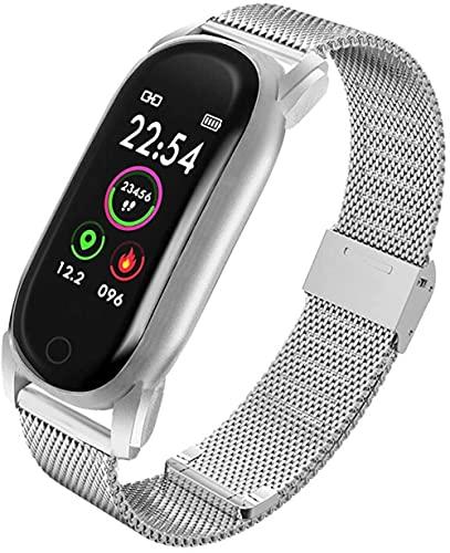 AMBM Reloj inteligente para mujer, resistente al agua, monitor de frecuencia cardíaca, pulsera de lujo, reloj inteligente para Android IOS (color de acero dorado) - acero plateado