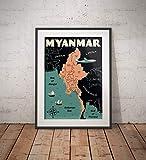 AZSTEEL Vintage Poster Myanmar-Karte – Fine Art Print