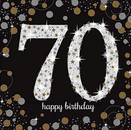 amscan 511964 16 Servietten 70.Geburtstag Sparkling Celebration, Schwarz/Silber