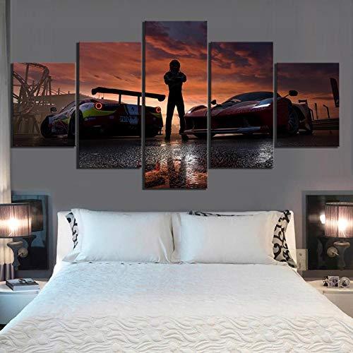 Wslin canvas afdrukken 5 stuks spel poster schilderij Hd Autos muurschilderijen canvas schilderij voor wooncultuur muurkunst afdrukken op canvas 200X100cm