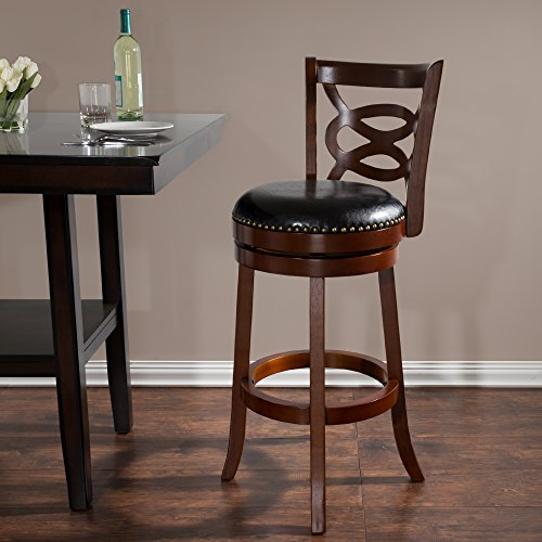 Lavish Home 31 in Wood and Leather Swivel Stool - Dark Brown, 31