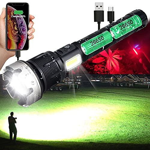 Rechargeable Flashlights High Lumens 1000000 Zoomable 2021 Best 26650 Floodlight Spotlight Strobe Light Lanterns World's Brightest Flashlight for Outdoor Emergencies Camping Fishing Power Outage Cars
