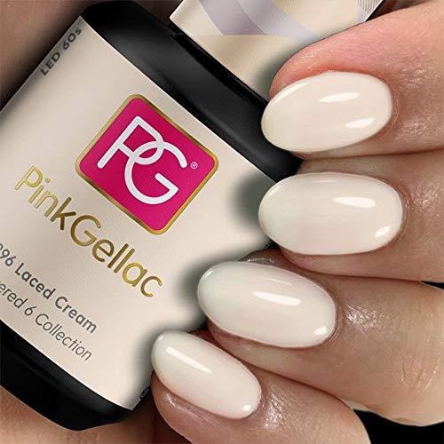 PINK GELLAC Shellac Gel Nagellack 15 ml für UV LED Lampe | 296 Laced Cream Beige | Gel Nail Polish for UV Nail Lamp | LED Nagel Lack Gellack Nagelgel