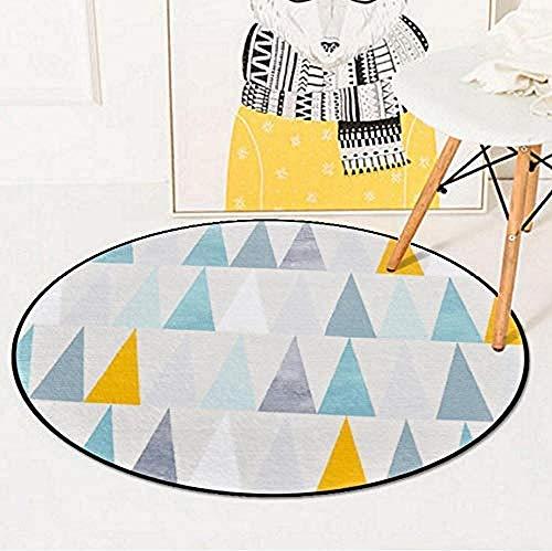 Airxcn Runde Teppiche für Wohnzimmer Kinderzimmer Teppich geometrische Dreieck gelb grau hellblau Spielmatten für Baby Kissen Mat-120x120cm