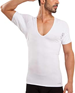 Ejis Men's Sweat Proof Undershirt, Deep V Neck, Anti-Odor Silver, Cotton, Sweat Pads