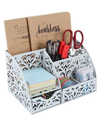Schreibtisch-Organizer mit Blumenmotiv-Ausschnitt mit 5 Fächern und 1 Schublade, Kollektion Caddy weiß