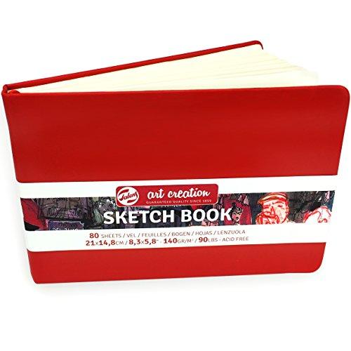 Royal Talens – Art Creation Hardback Sketchbook – 80 Sheets – 140gsm – 21 x 14.8cm – Red Cover