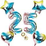 Globos con número 25, número 25, arco iris 25, 80 cm, XL para niñas, niños, hinchables, forma de corazón, helio, estrella, globo, fiesta de cumpleaños