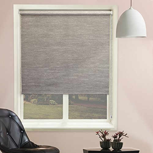 "Chicology Continuous Loop Beaded Chain Roller Shades / Window Blind Curtain Drape, Natural Woven, Privacy - Candyfloss Coal, 48""W X 64""H"