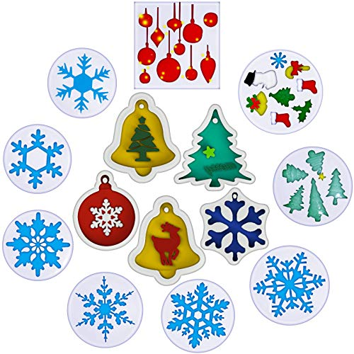 14 Pieces Christmas Resin Molds Merry Christmas Tree Bell Snowflake Resin Molds Jewelry Pendant Making Silicone Mould Crystal Epoxy Casting Mold for DIY Christmas Ornament Craft Making