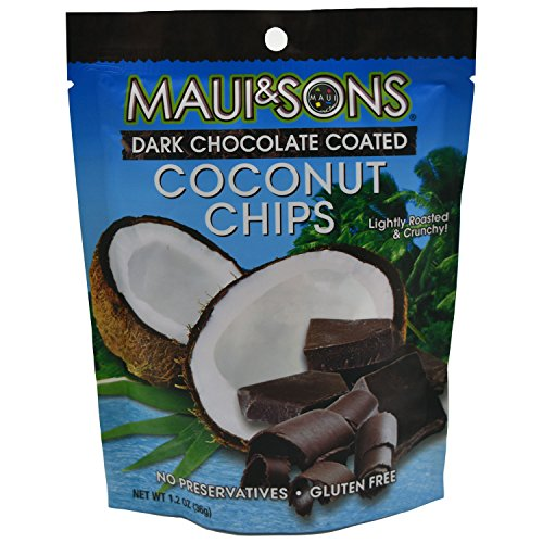 Maui & Sons Lightly Roasted And Crunchy Dark Chocolate Coated Coconut Chips, 1.2 Oz