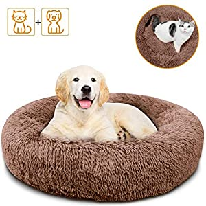 Small Dog Cat Bed – Comfortable Donut Calming Dog Bed, Ultra Soft Washable Dog Bed for Small Dogs & Cats