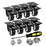 ASHGOOB 2' Caster Wheels Set of 8, Heavy Duty Casters with Brake, No Noise Locking Casters with Polyurethane (PU) Wheels, Swivel Plate Castors Pack of 8